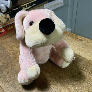 Plush FAO Schwarz Pink Cream Dog Jointed